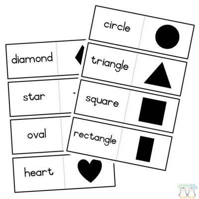 Picture of Shapes matching cards - black & white