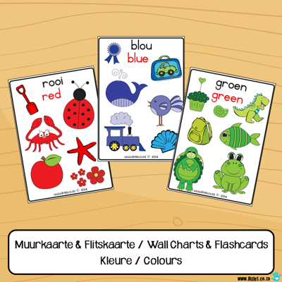Picture of KLEUR / COLOUR (met prentjies) Muurkaarte&flitskaarte / Wall charts&flashcards