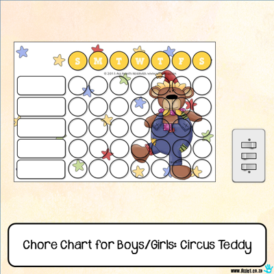 Picture of Chore Chart - Circus Teddy Bear