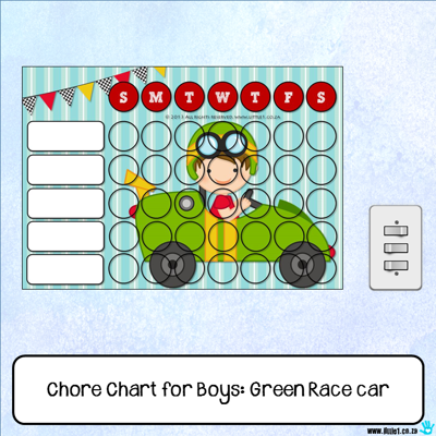 Picture of Chore Chart - Green Race car