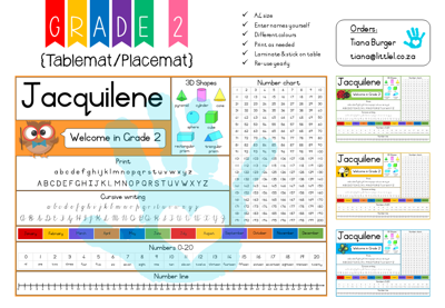 Picture of Grade 2 Tablemat {Editable Template}  for Teachers