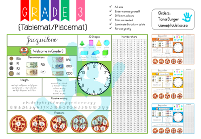 Picture of Grade 3 Tablemat {Editable Template}  for Teachers