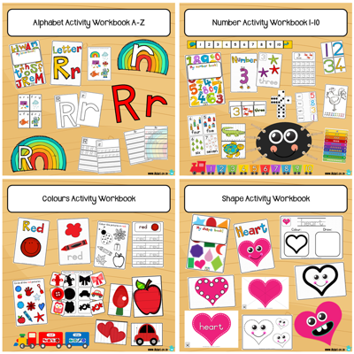 Picture of Alphabet + Numbers + Shapes + Colours Workbooks COMBO